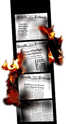 Burning newspaper articles